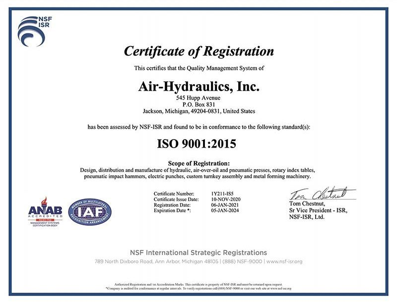 ISO Certificate.